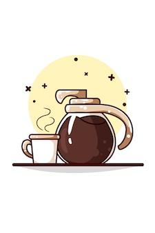 Ilustração de chaleiras e xícaras de café