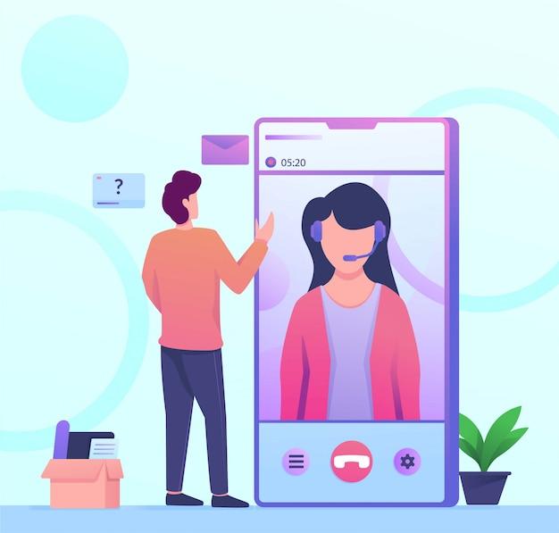 Ilustração de chamada de serviço móvel de serviço ao cliente