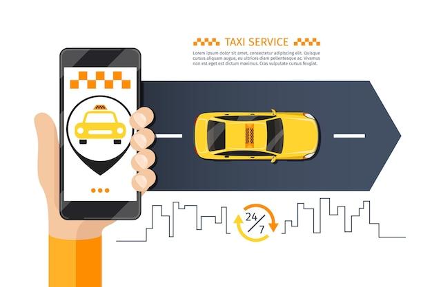 Ilustração de chamada de telefone móvel de táxi.