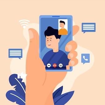 Ilustração de chamada de vídeo de amigos
