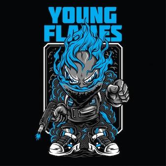 Ilustração de chamas jovens