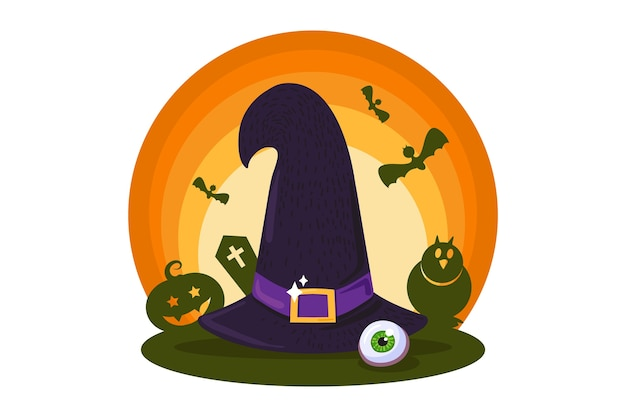 Ilustração de chapéu de bruxa tradicional de halloween
