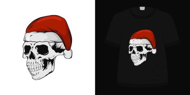 Ilustração de chapéu de papai noel com crânio para design de camiseta