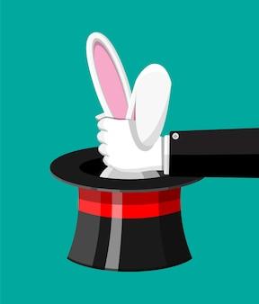 Ilustração de chapéu mágico com orelhas de coelho