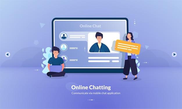 Ilustração de chat online como conceito moderno de mídia de comunicação