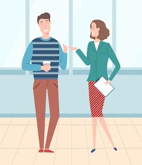 Ilustração de chefe e trabalhador