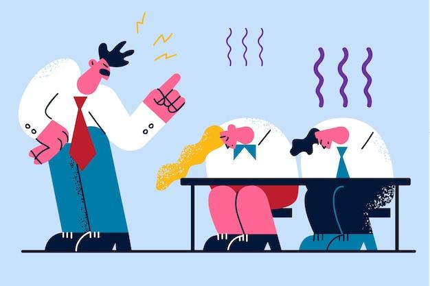 Ilustração de chefe furioso e diretor zangado