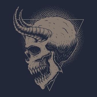 Ilustração de chifres de monstro de crânio