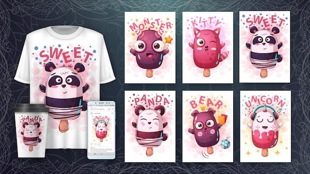 Ilustração de chracters dos desenhos animados e merchandising