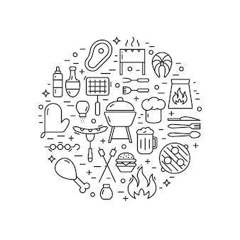 Ilustração de churrasco feita em vetor de estilo de linha