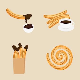 Ilustração de churros mexicanos, sobremesa de comida e café