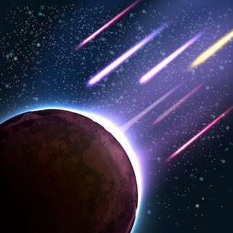 Ilustração de chuva de meteoritos em um planeta. meteorito em queda, asteróide ou cometa entra na atmosfera. fundo apocalíptico