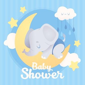Ilustração de chuveiro de bebê com elefante