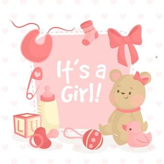 Ilustração de chuveiro de bebê com ursinho de pelúcia para menina