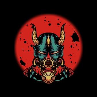 Ilustração de ciborgue usando máscara