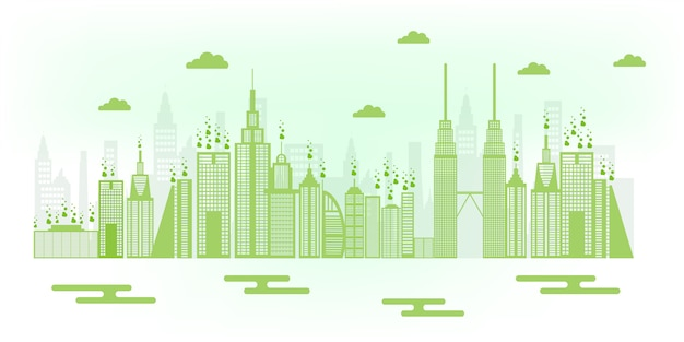 Ilustração de cidade amigável de eco