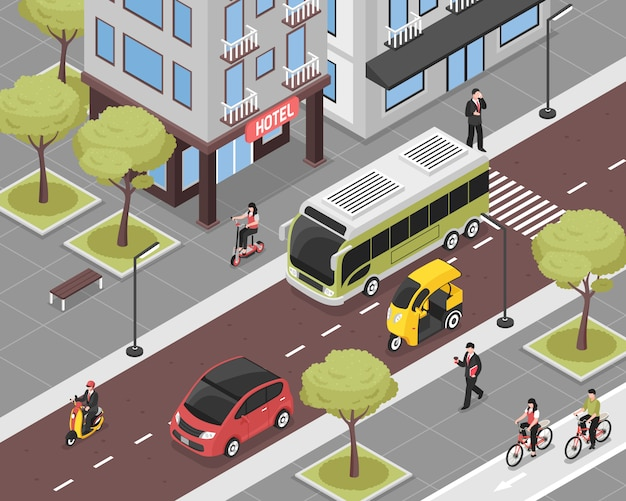 Ilustração de cidade eco com transporte da cidade e pessoas isométricas