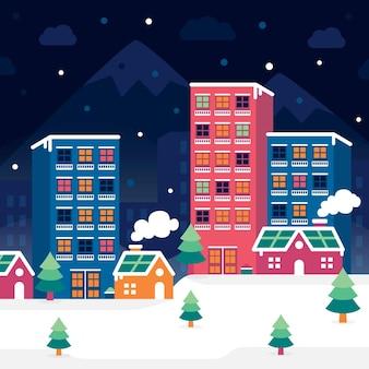 Ilustração de cidade plana de natal