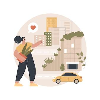 Ilustração de cidade verde vertical