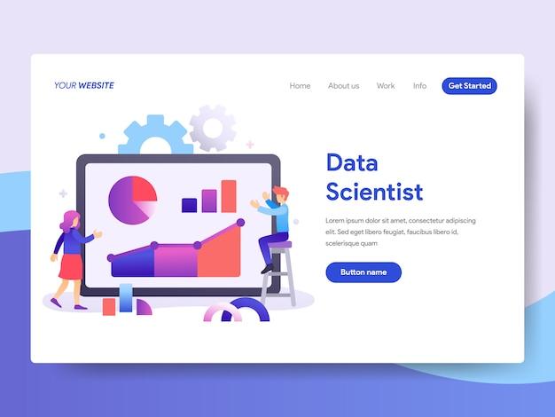 Ilustração de cientista de dados para a página inicial