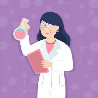 Ilustração de cientista fêmea trabalhando