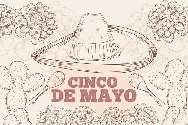 Ilustração de cinco de mayo desenhada à mão
