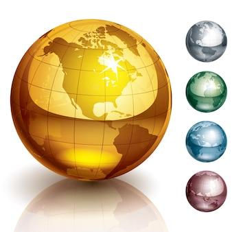 Ilustração de cinco globos metálicos