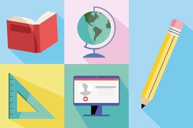 Ilustração de cinco materiais educacionais