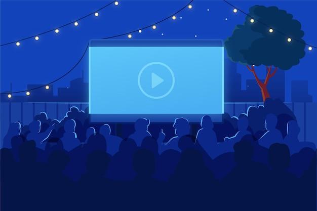 Ilustração de cinema ao ar livre