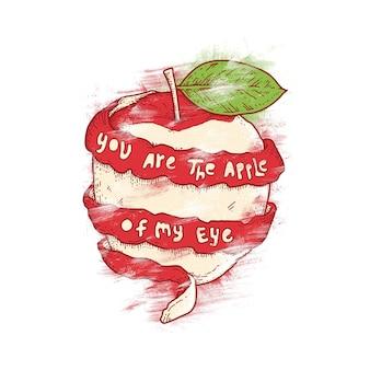 Ilustração de citação de maçã de tipografia