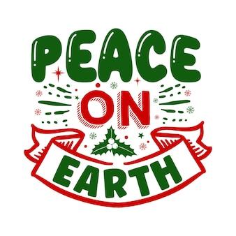 Ilustração de citações da paz na terra premium vector design