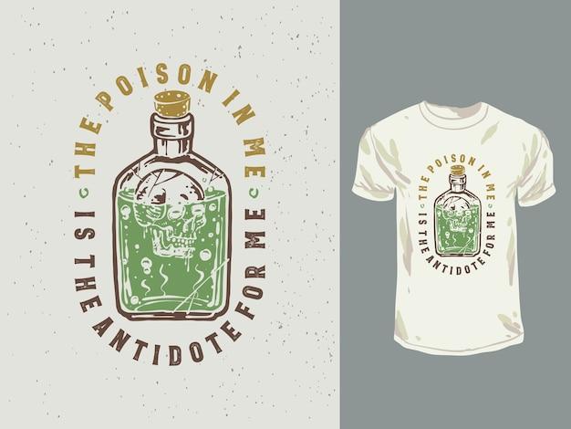 Ilustração de citações de garrafa de veneno vintage