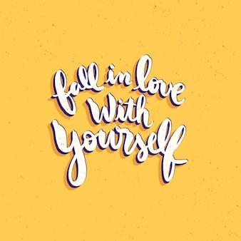 Ilustração de citações de letras de amor próprio