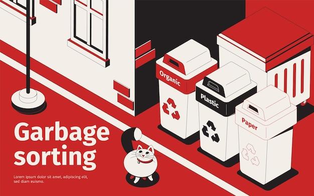 Ilustração de classificação de lixo