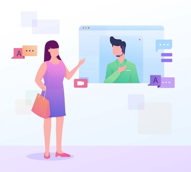 Ilustração de cliente da página da web do tradutor