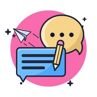 Ilustração de cliente de feedback de bate-papo