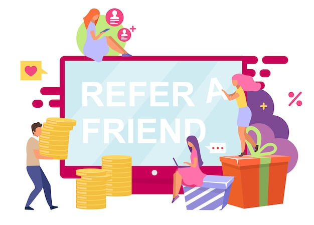 Ilustração de clientes indicados. indique a um amigo o conceito de desenho animado sobre fundo branco. programa de referência, bônus, recompensas. influenciador e marketing viral. compartilhamento social