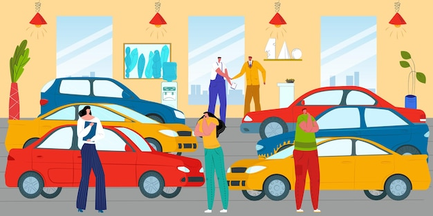 Ilustração de clientes no showroom de automóveis veículo automóvel