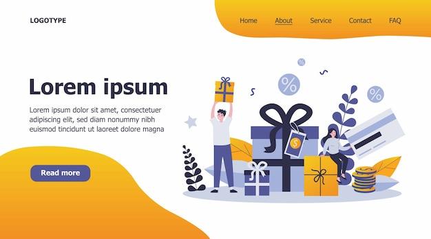 Ilustração de clientes recebendo presentes e recompensas por compras
