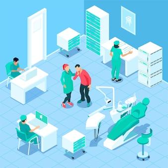Ilustração de clínica dentista isométrica