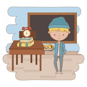 Ilustração de clip-art de garoto adolescente dos desenhos animados