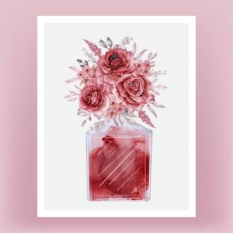 Ilustração de clipart em aquarela de perfume e rosa bordô