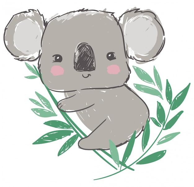 Ilustração de coala e folhas verdes