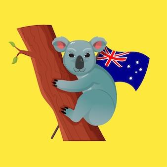 Ilustração de coala fofa escalando uma árvore como tema do dia da independência da austrália