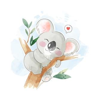 Ilustração de coala fofo dormindo na árvore