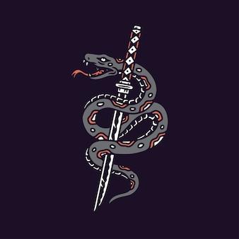 Ilustração de cobra com espada katana