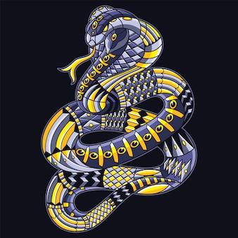 Ilustração de cobra mandala zentangle e design de camiseta premium