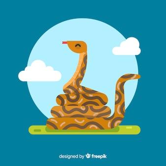 Ilustração de cobra plana colorida