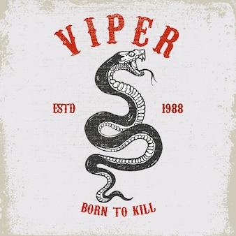 Ilustração de cobra víbora na textura grunge