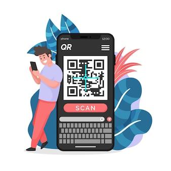Ilustração de código qr de digitalização em smartphone